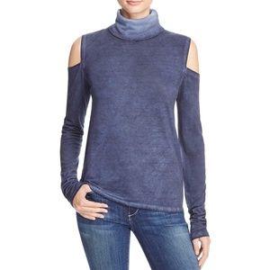Pam & Gela Womens Shoulder Casual Turtleneck Top